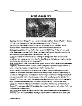 Great Chicago Fire - Informational Article - Questions Vocabulary Word Search