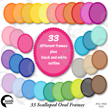 FRAMES Clipart, 33 Colorful Scalloped Frames, {Best Teacher Tools} AMB-1887