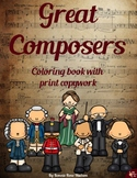 Great Composers Coloring Book with Print Copywork