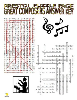 Great Composers Puzzle Page (Wordsearch and Criss-Cross)