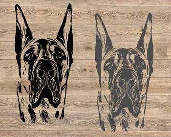 Great Dane svg dog American ClipArt portrait Hound merica patriotic 1497s