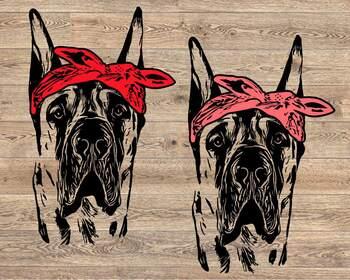 Great Dane whit Bandana svg dog American ClipArt portrait Hound patriotic 1501s