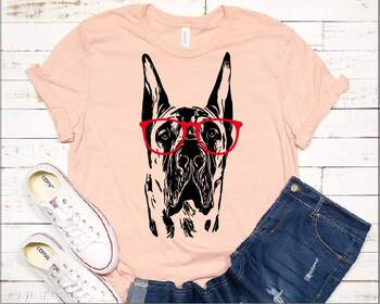 Great Dane whit Glasses svg dog American ClipArt portrait Hound patriotic 1500s