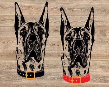 Great Dane whit collar svg dog American ClipArt portrait Hound patriotic 1499s