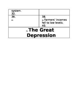 Great Depression 2 Column Foldable