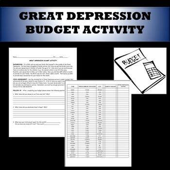 Great Depression Budget Activity