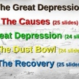 Great Depression Bundle: 16 PPTs, primary sources, graphic organizers & more