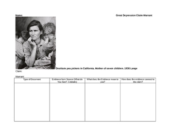 Great Depression Claim Warrant small group activity