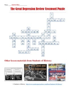 Great Depression Crossword Puzzle
