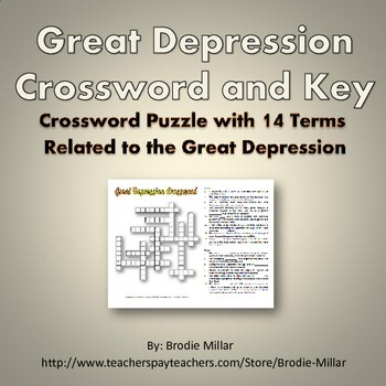 Great Depression - Crossword Puzzle and Key (14 Terms and Clues)