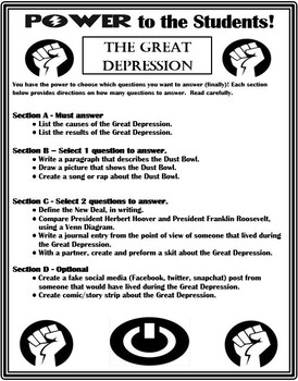 Great Depression Differentiation Activity - Power to the Students!