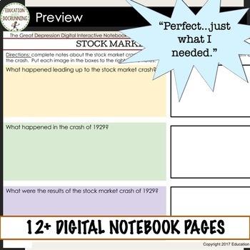 Great Depression Digital Interactive Notebook Graphic Organizers