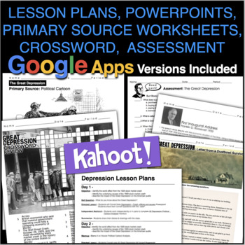 Great Depression Unit - PPTs w/Video Links, Worksheets Review, & Assessment