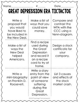 Great Depression Era TicTacToe Choice Board