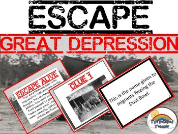 Great Depression Escape Review Task Card Game Activity