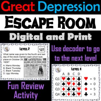 Great Depression: Escape Room - Social Studies