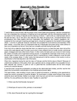 Great Depression: FDR Fireside Chat