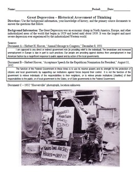 Great Depression Historical Assessment of Thinking (Quiz) Common Core