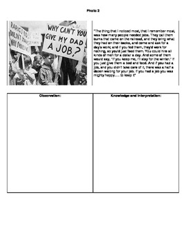Great Depression - Images, oral histories, and creative writing