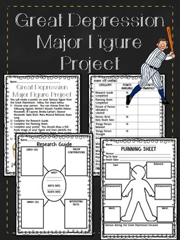 Great Depression Major Figure Project- Includes all steps! FREEBIE!