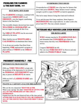 Great Depression & New Deal Graphic Organizer (WITH KEY)