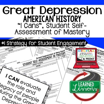 Great Depression New Deal I Cans Self Assessment Mastery A