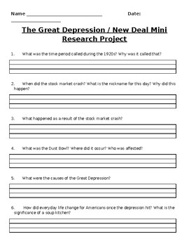 Great Depression/New Deal Mini Research Project