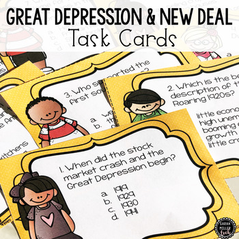 Great Depression & New Deal Task Cards (SS5H3, SS5H3a, SS5H3b, SS5H3c)