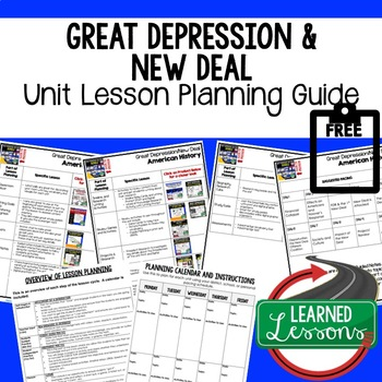 Great Depression, New Deal Unit Lesson Plan Guide, US History BACK TO SCHOOL