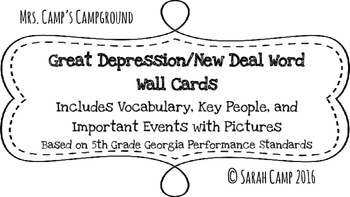 Great Depression/New Deal Word Wall/Bulletin Board Cards