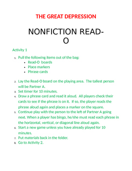 Great Depression Nonfiction READ-O Fluency Game