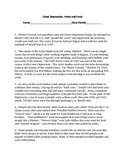 Great Depression Notes/Information Sheet