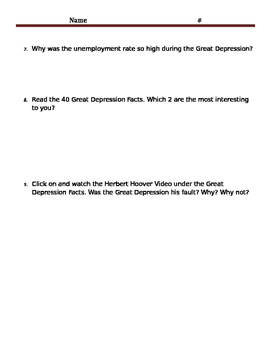 Great Depression Online Scavenger Hunt