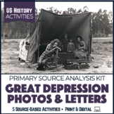 Great Depression Dust Bowl Photos & Letters Activity 7-Pack