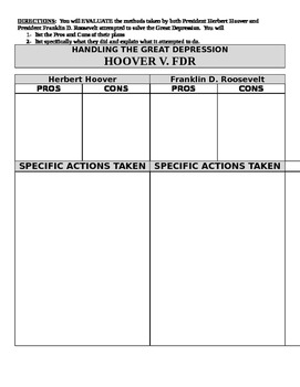 Great Depression Plans:  Hoover v. FDR Graphic Organizer