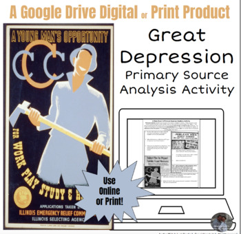 Great Depression Primary Source Analysis Google Drive Interactive Lesson