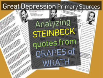 Great Depression Primary Source: Analyzing Steinbeck Quotes from Grapes of Wrath