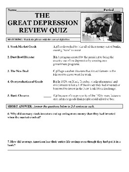 The Great Depression Review Quiz