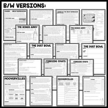 Great Depression Reading Comprehension Bundle, Slideshow, Guided Notes