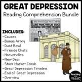 Great Depression Reading Comprehension Worksheet Bundle