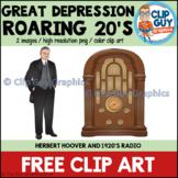 Great Depression Roaring Twenties Herbet Hoover 1920's Radio Clip Art FREEBIE