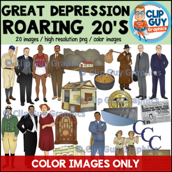 Great Depression Roaring Twenties & New Deal Clip Art Bundle - COLOR IMAGES ONLY