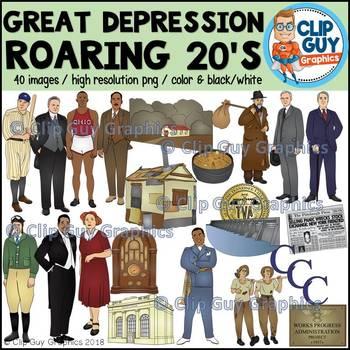 Great Depression Roaring Twenties & New Deal Clip Art Bundle {Clip Guy Graphics}