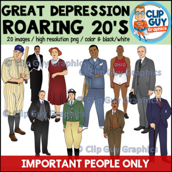 Great Depression Roaring Twenties & New Deal Important People Clip Art Bundle