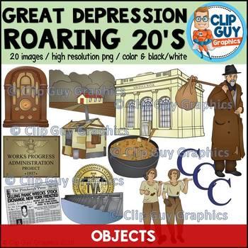 Great Depression Roaring Twenties & New Deal Objects Clip Art Bundle