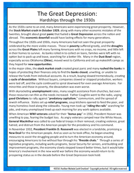 Great Depression SPRITE Reading & Social Studies Graphic Organizer