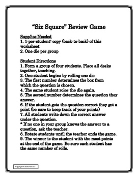 FREE! Great Depression Six-Square Review Game (U.S. History)