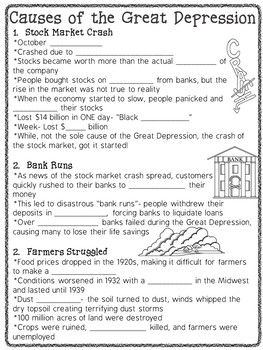 Great Depression Slideshow and Guided Notes