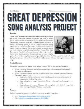 Great Depression - Song Analysis Project with Rubric (This Land is Your Land)