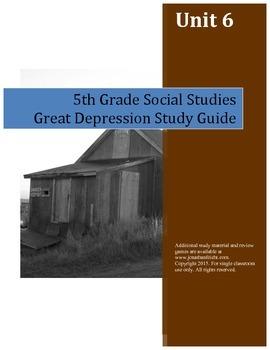 Great Depression Study Guide--5th Grade Social Studies